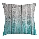 ZTLKFL Rustic Throw Pillow Cushion Cover, Wood Panels Background with Digital Tones Effect Country House Art Image, Decorative Square Accent Pillow Case, 18 X 18 Inches, Light Blue and Grey