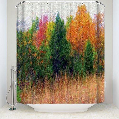 Badezimmer Decor Vorhang für die Dusche Watercolor Forest Art Deco 54