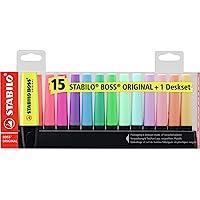Surligneur - STABILO BOSS ORIGINAL - Set de bureau de 15 - Coloris fluo et pastel assortis