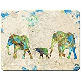 Meffort Inc Standard 9.5 x 7.9 Inch Mouse Pad - American Flag Family of Elephants