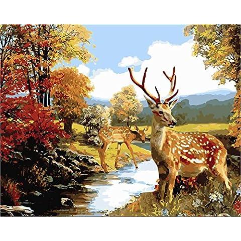 IPLST@ Senza cornice digitale dipinti ad olio da Numeri, paesaggio cervo lungo il fiume della giungla Scenery Pittura a olio 3d wall art Home decalcomanie, DIY Pittura a olio Kit -16x20 inch - Lungo Un Fotogramma