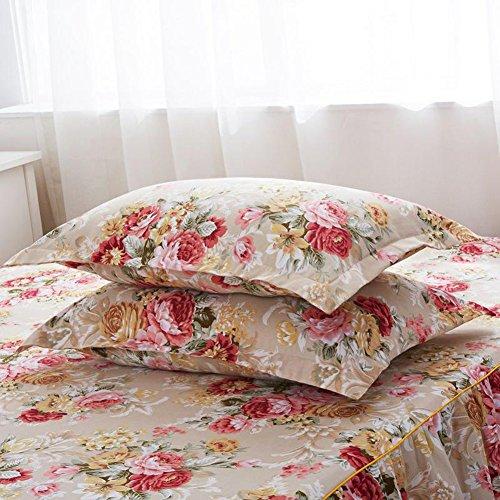 Queen-size-staub Rüschen (purebesi Romantische Blume Print Spannbetttuch mit Queen Größe 150x 200cm rutschfest Anti-Pilling Bett Rock 43,2cm Drop, B Style, 18.90