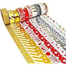 K-LIMIT 10er Set Washi Tape Dekoband Masking Tape Klebeband Scrapbooking DIY Weihnachten Christmas 9158