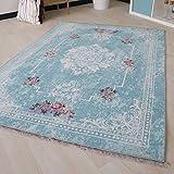 Waschbarer Teppich in Türkis Vintage Rokoko Style Teppiche für Küche Bad Flur mit rutschfestem Latexrücken mit Kelim Kilim Oberfläche hochwertig gewebt (160cm x 230cm)