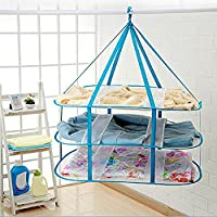 GEZICHTA Folded Hanging Clothes Basket, Creative 3-Tier Windproof Mesh Clothes Drying Rack Clothes Laundry Rack Dryer Net(blue)