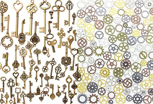 BESTIM INCUK 137 Pack Antique Bronze Vintage Skeleton Keys Steampunk Gears Cogs Charms Pendant Clock Watch Wheel for Jewellery Making Supplies, Steampunk Accessories, Craft Projects steampunk buy now online