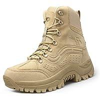 IYVW Stivali da uomo, in pelle, stile militare, impermeabili, con cerniera, tattici, per ambienti esterni, per forze…