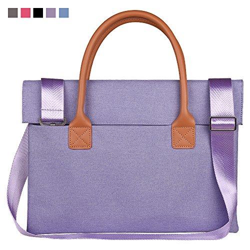 Qishare Multifunktionale Universal Fashion Durable Oxford Gewebe Tragbare Handtasche, Aktenkoffer, Schultertaschen, mit abnehmbarem Schultergurt (11,6-12 Zoll, Lila)