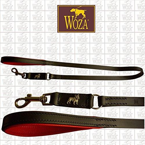 Schwarze Napa Leder (Woza Premium HUNDELEINE 18/110 FRANZÖSISCHE Bulldogge Vollleder SATTLERNAHT SCHWARZ RINDNAPPA ROT)