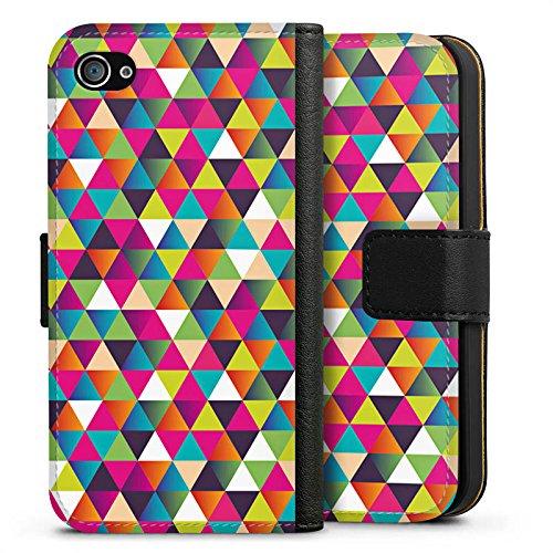 Apple iPhone X Silikon Hülle Case Schutzhülle Dreiecke Muster Bunt Sideflip Tasche schwarz