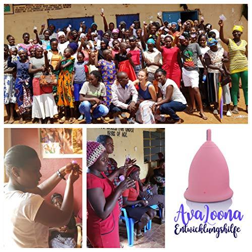AvaLoona Menstruationstasse klein medizinisches Silikon – 1 EUR pro Menstruationskappe geht an Terre des Femmes (1 Menstruationsbecher) (klein, rot) - 4