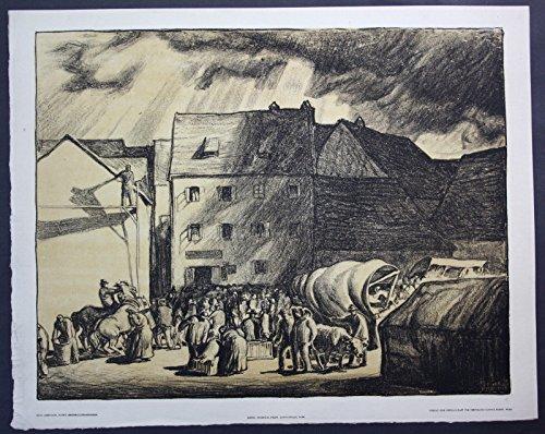 Fritz Zerritsch Wien Markt Marktplatz Lithographie signiert