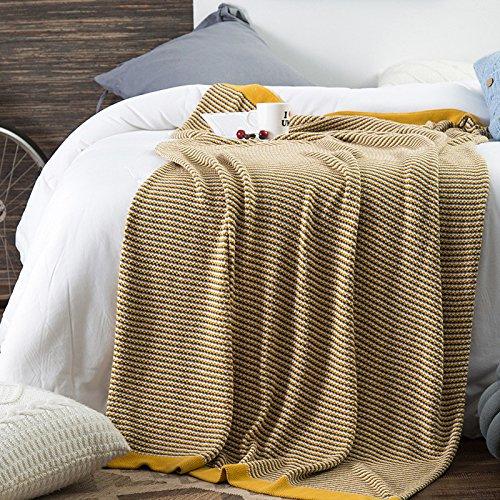AINIF Baumwolle Aus Wolle Decke, Büro - Sofa, Schlafen, Decke, 130Cmx180Cm,Gelb (Einfach Stricken Baby Muster Decke)