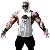 YeeHoo Débardeur Musculation Homme à Capuche Imprimé Sport Fitness Gym T-Shirt Gilet sans Manche