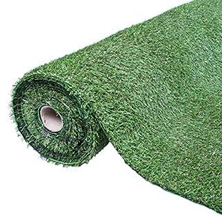 GardenKraft 26070 Roll 4m x 1m 15mm Pile Height Carpet Artificial Grass Astro Garden Lawn High Density Fake Turf, Green