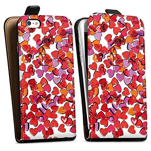 Apple iPhone X Silikon Hülle Case Schutzhülle Liebe Herz Muster Downflip Tasche schwarz
