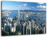 Hong-Kong am Tag Format:120x80 cm Bild auf Leinwand bespannt, riesige XXL Bilder komplett und fertig gerahmt mit Keilrahmen, Kunstdruck auf Wand Bild mit Rahmen, günstiger als Gemälde oder Bild, kein Poster oder Plakat