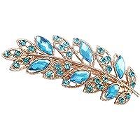 display08 - Fermaglio per capelli da donna, con motivo a foglie di fiori, con strass, colore: blu lago