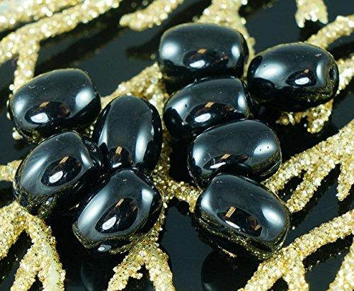 Nero opaco, Vetro ceco Ovale Corto Tubo di Perline 9mm 20pcs