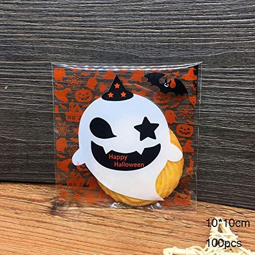 100 Stücke Plastiktüten Halloween Süßigkeiten Cookie Tasche Selbstklebende Für Halloween Geburtstagsfeier Geschenk Tasche Keks Backen Verpackungsbeutel, Farbe, 3 (Cookie Girl Kostüm)