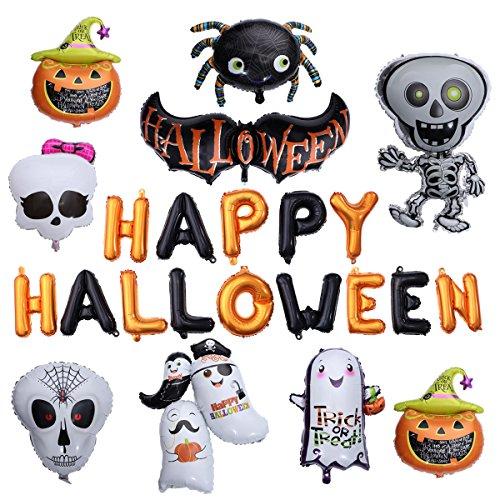 Toyvian happy halloween lettera palloncini - zucca gigante, scheletro danzante, fantasma, bat, ragno - set di 10