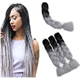 """Kanekalon Black to Silver Jumbo Ombre Braid Synthetic Hair Extensions, 100G / PC 24""""For African Crochet Braids Hair Extension"""