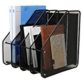 #7: DaKos 4 Compartment Metal Mesh Office Desktop Document & File Organizer Rack/Magazine Holder (Black)