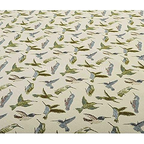Exclusive in tessuto, colore: blu, colore: verde, motivo uccelli in tessuto morbido rivestimento in tessuto ciniglia, materiale ideale per mobili Furnishings - Uccello Rivestimento In Tessuto