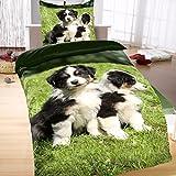 Mikrofaser Bettwäsche Wendedesign 135x200 2-teilig Hunde Strolche grün