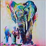 OMGO Dessin D'ornement Tableau Decoration Mural Peinture à l'huile Impression Sur Toile Art Moderne Sans Encadrement Éléphant Vintage 50*50cm...