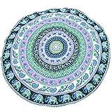 Vosarea Cuscino da Spiaggia Cuscino Indiano Mandala Telo Mare Asciugamano Multiuso Coperta Morbido Tondo Cuscino Grande Modello Moda 59 Pollici - (Colore Casuale 150cm T02)