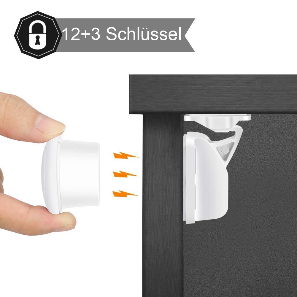 Telgoner Kindersicherung Schrank Magnet, 12 Schlösser mit 3 Schlüssel  Schranksicherung Baby für Schranktür und Schubladen, Unsichtbare ...