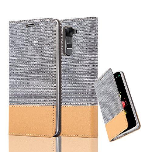 Cadorabo Hülle für LG Stylus 2 - Hülle in HELL GRAU BRAUN – Handyhülle mit Standfunktion und Kartenfach im Stoff Design - Case Cover Schutzhülle Etui Tasche Book