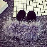 Brezeh Womens Cotton Slippers Anti-slip Warm Soft Slipper Shoes Fluffy Faux Fur Flip Flop Sandal (Gray, 39)