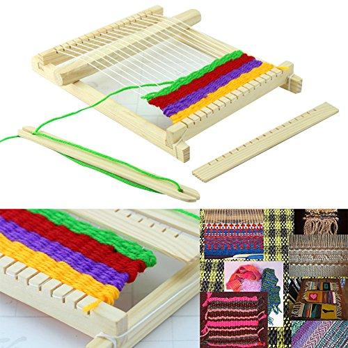 Wildlead Tejer telar de juguete,Regalo de Navidad Madera Tejer Telar Hilo Shuttle Comb DIY Herramienta de Artesanía Hecha A Mano Kit de Juguete Educativo