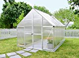 Palram 7019448x 12ft Essence Gewächshaus inkl. transparente Polycarbonat/Aluminium Rahmen/Boden–silber