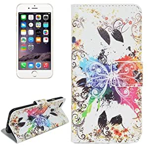 Crazy4Gadget Butterfly Pattern Horizontal Flip Magnetic Buckle Leather Case with Card Slots & Wallet & Holder for iPhone 6 Plus & 6S Plus