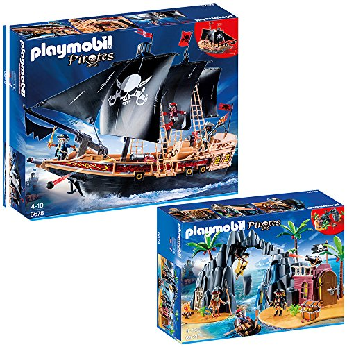 PLAYMOBIL® Piraten 2-tlg. Set 6678 Piraten-Kampfschiff + 6679 Piraten-Schatzinsel
