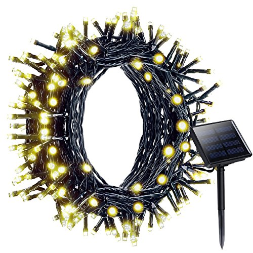 Litom Solar Lights Garden Outdoor Solar Fairy Lights String Lights Waterproof 200 LED 8 Modes, 72ft 22m (Warm White)