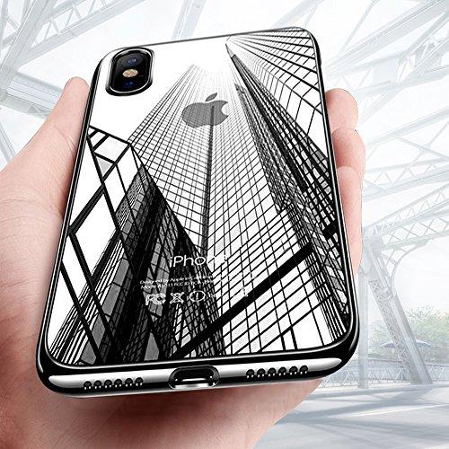 iPhone X Handyhülle, Mture iPhone X Hülle Kratzfeste Plating Bumper Case Ultra Slim TPU Case Flexibel Silikon Hülle Anti-Scratch Tasche Schutzhülle für iPhone X Case Cover (Schwarz )