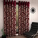 #6: Home Sizzler 2 Piece Scroll Frill Window Curtains - 5 Feet, Maroon
