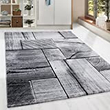 Moderner Design Holzstrucktur Guenstige Teppich Kurzflor Schwarz Grau meliert 5 Groessen Wohnzimmer Gästezimmer, Flur, Schlafzimmerm, Kueche, Läufer, Größe:200x290 cm