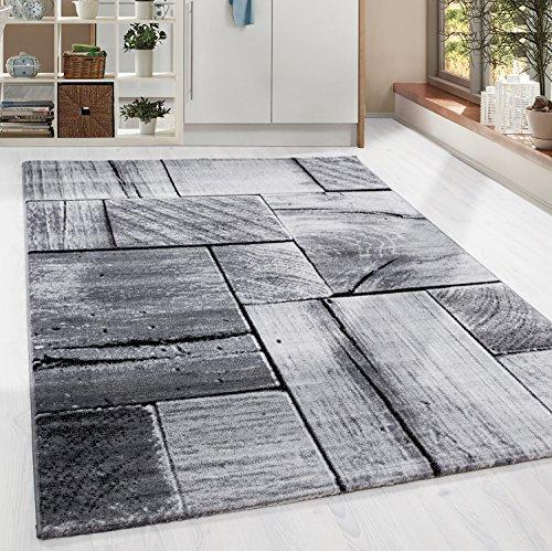 HomebyHome Moderner Design Holzstrucktur Guenstige Teppich Kurzflor Schwarz Grau meliert 5 Groessen Wohnzimmer Gästezimmer, Flur, Schlafzimmerm, Kueche, Läufer, Größe:120x170 cm (Günstig Teppich Läufer)