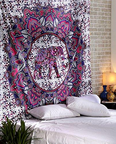 Indian Pink Elephant attraente Mandala cotone stampato Tenture Hippie arazzo