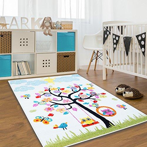 Alfombra para niños (algodón, varios tamaños, Oeko Tex), colores brillantes, beige, 80 cm_x_150 cm