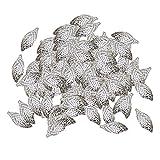 MagiDeal 100pcs Breloques Filigrane Feuilles Pendentif de Boucle d'oreille Charmes Résultat de Bijoux Collier Bracelet - Blanc K