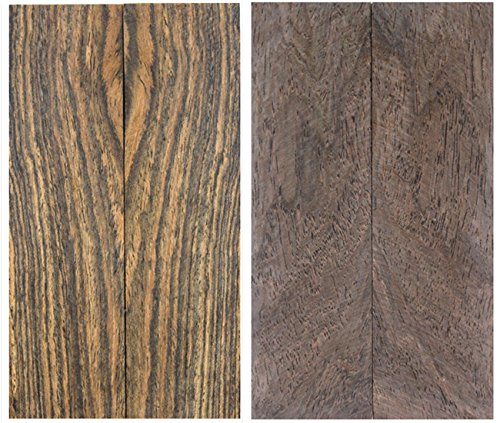 Zwei Sets bookmatch Holz Messer Waage/Pistole Griff block- Tiger Streifen Holz & conbretum imberbe 127mmx76mmx10mm (Pistole Block)