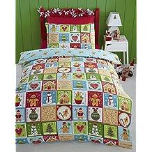 Pan jengibre árbol de Navidad Muñeco de nieve Colcha funda de almohada y funda nórdica Juego Ropa De Cama, multicolor - Multicolor, Individual