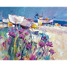 "Chris Forsey ""Barcos y playa de flores lienzo Prints, multicolor, 40x 50cm"
