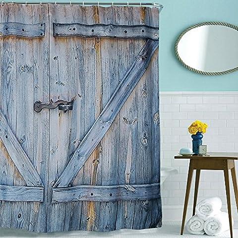 Vorhang wasserdichte Duschvorhang antibakterieller, Duschvorhänge Set mit 12 Kunststoff Haken zum Bad Zubehör 180 x 200 cm ( 72x78in Retro Holztür